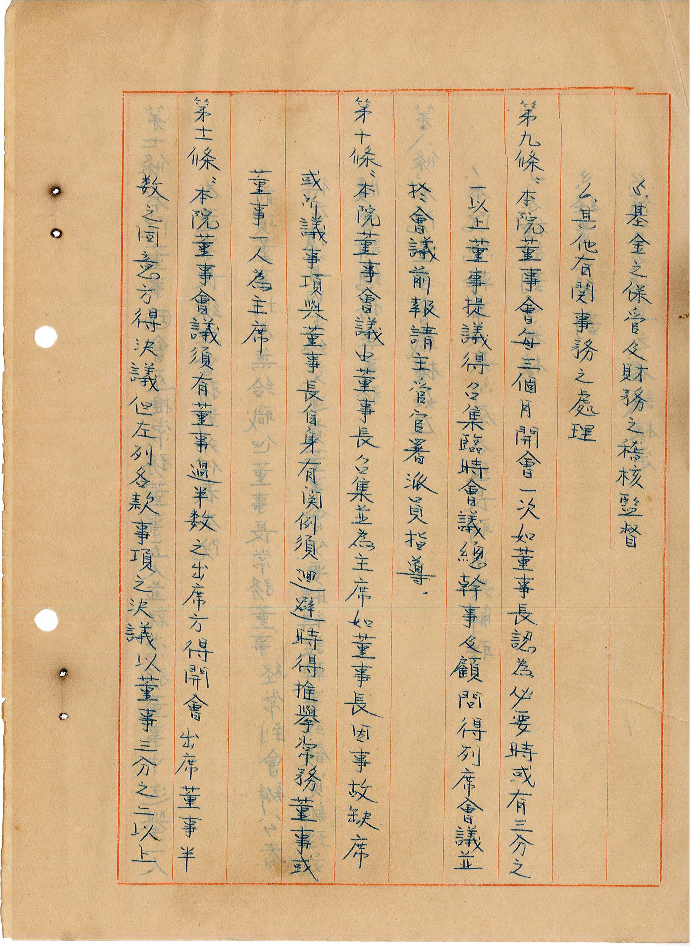 台灣省私立台灣盲人重建院-組織章程第九至十一條