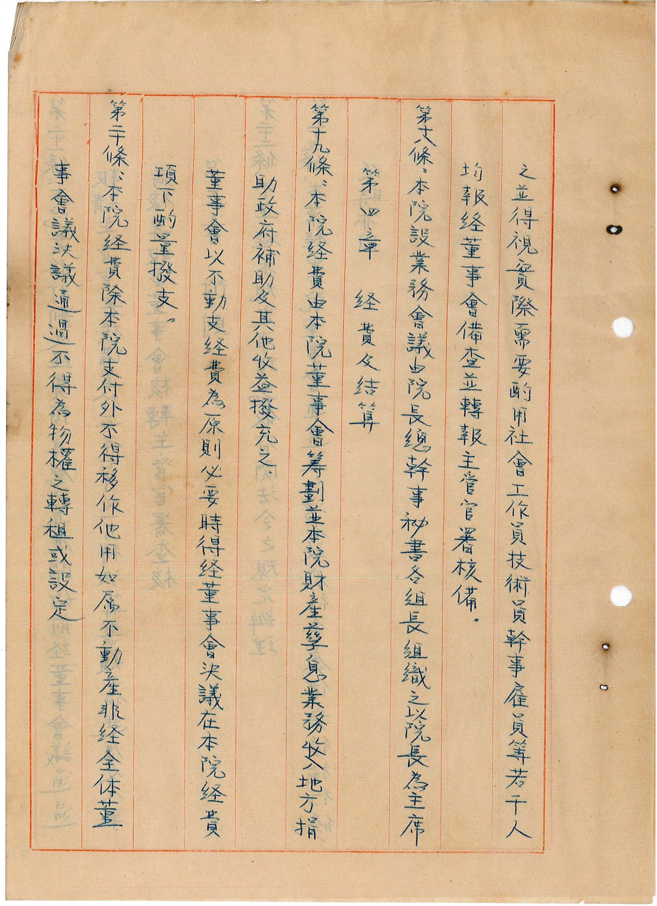 台灣省私立台灣盲人重建院-組織章程第十八至二十條