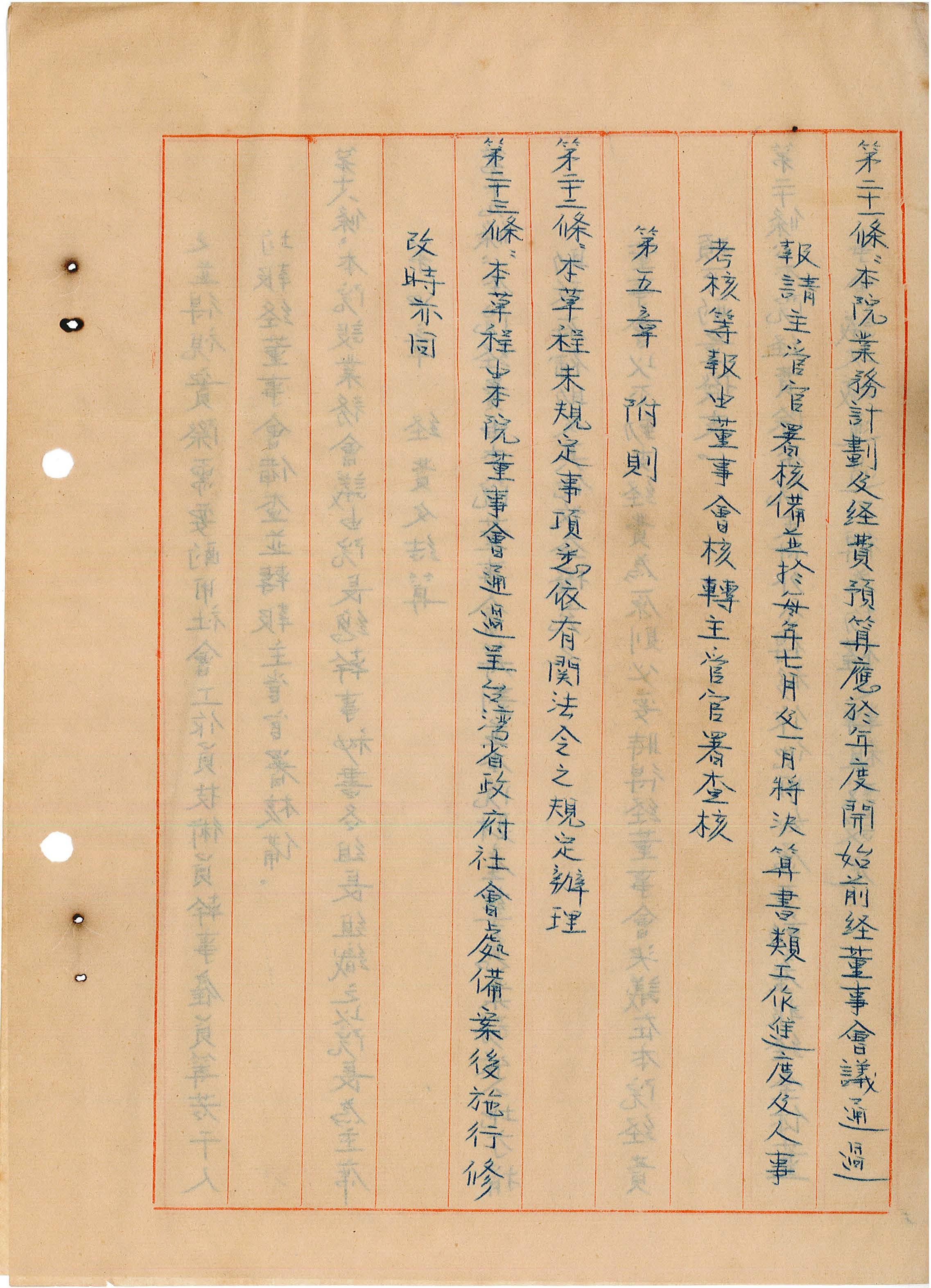台灣省私立台灣盲人重建院-組織章程第二十一至二十三條